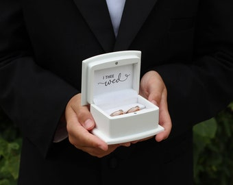 WEDDING RING box ring bearer box pillow page boy best man commitment ceremony black and white the rings with these rings I thee wed