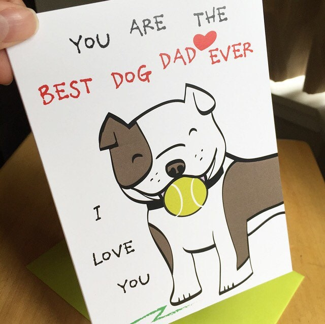 Cute Dad Dog Card Birthday Anniversary For Husband Or Boyfriend I Love You Fathers Day