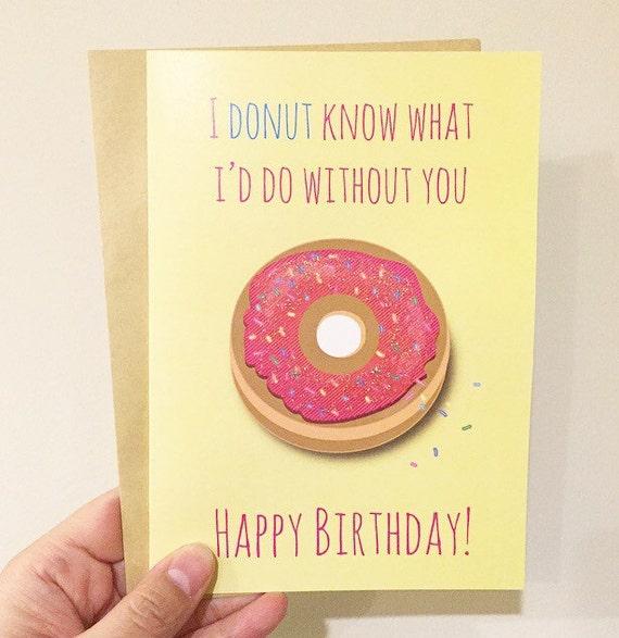 Susse Donut Geburtstagskarte Mit Glitzer Ich Donut Zu Wissen Etsy