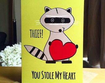 Adorable Raccoon Love Card -Thief, You Stole My Heart! Cute Anniversary Card. Card For Wife. Card For Husband. Valentine's Day Card.