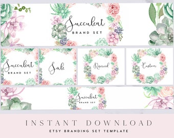 Florals Ethereal Reserved Etsy Banner /& Avatar Template Flowers Banner Templett Sale Grey Floral Custom Listing Watercolor