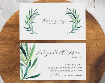 business card template instant download printable business card template business card diy calling card affordable card greenery