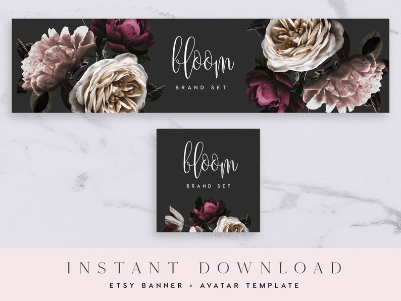Sale Reserved Templett Black and Purple Watercolor Florals Custom Listing Bloom Flowers Banner Etsy Banner /& Avatar Template