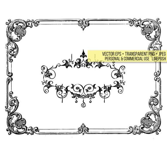 Vintage Ornamental Frame Wedding Invitation Card Design Clip Etsy