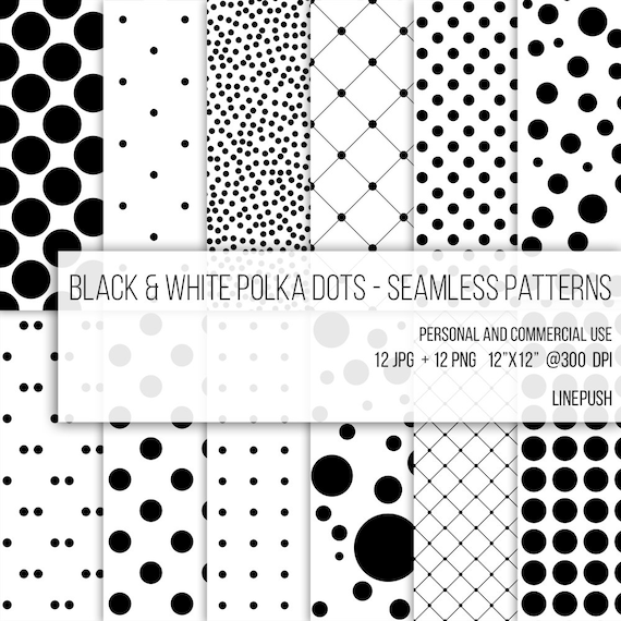Sale Black Amp White Polka Dots Patterns Seamless Paper Etsy