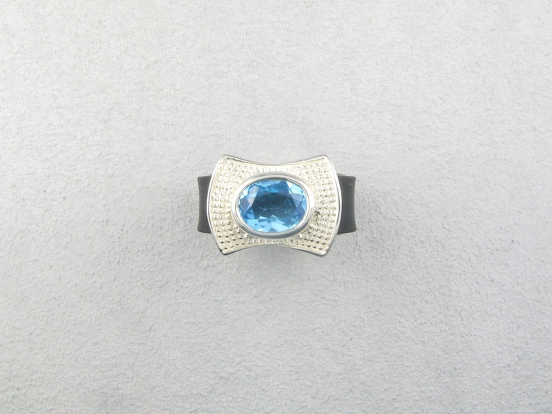 Silver 925 Blue Topaz and Rubber Band Ring