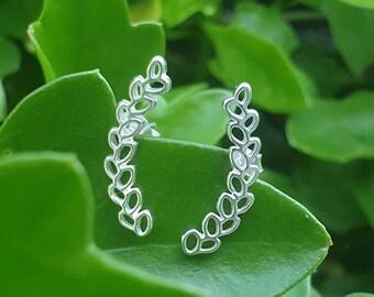 Leaf ear curves, leaf earrings, 925 sterling silver, ear climbers, vine stud earrings, nature jewelry, olive branch, leaf dangle, simple