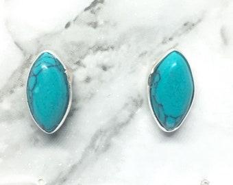 teardrop turquoise studs, 925 sterling silver, blue teardrop studs, turquoise earrings, december birthstone studs, blue gemstone studs
