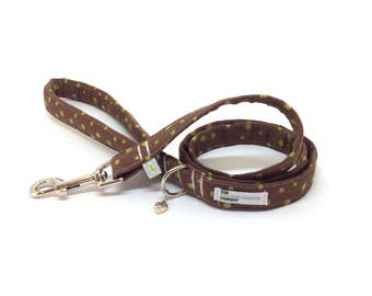 Dog Lead, Brown and Lime Green Spotty Padded Handle Dog Leash