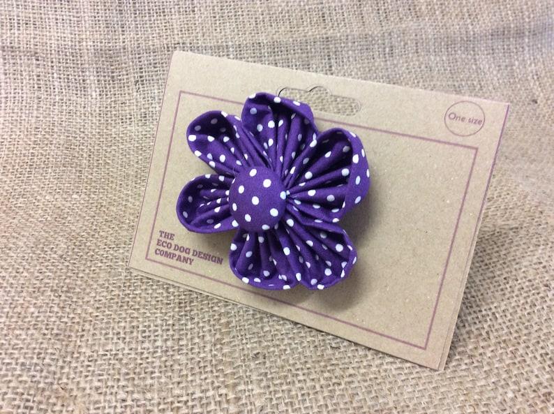 Purple Polka Dot Flower attachment for Dog Collar