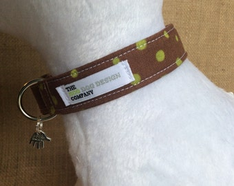 Brown and Lime Green Spotty Dog Collar