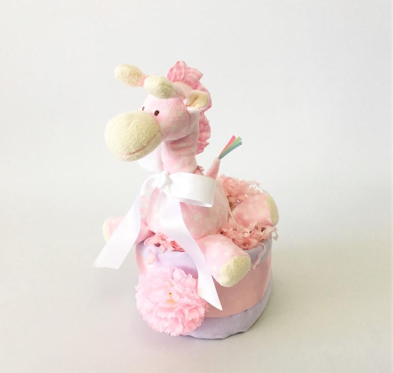 Pink Giraffe nappy cake image 0