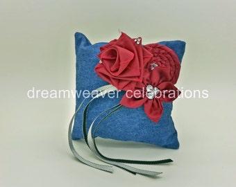Denim Ring bearer cushion/pillow, Wedding and Bridal accessories.