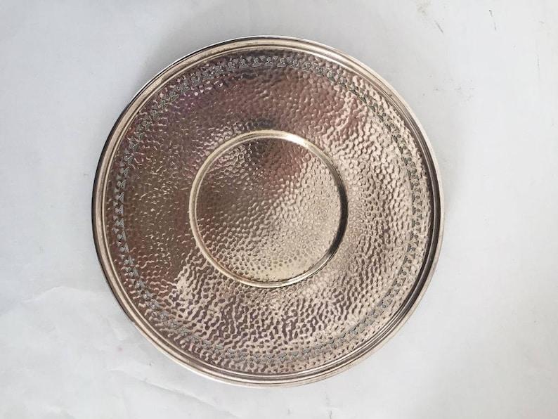 Elegant Pierced Silver Plate Hand Hammered Serving Plate Cottage Living,Wedding,Holidays