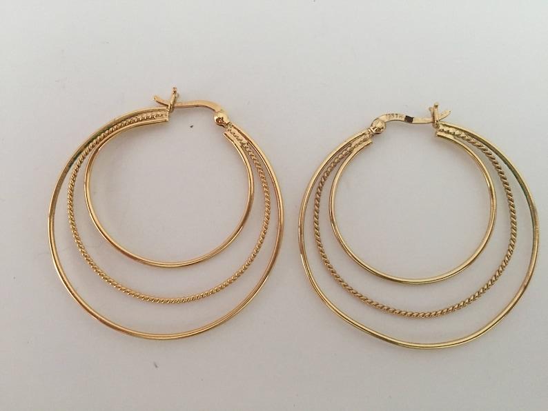 48 Estate Gold Tone Three Circle Pierced Earrings   Item #