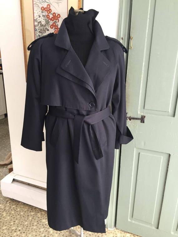 Vintage 80's- 90s Women's Navy Blue Trench Coat, B