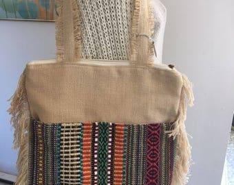 Beautiful  Boho Kilim Rug & Burlap Tote Bag/ Shoulder Kilim Bag New Old Stock!