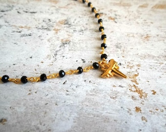 Rosary chain choker, choker, black necklace, shark tooth necklace, gold choker, handmade necklace, dainty necklace