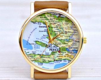Map gift. Travel watch. Map watch. Women gift. Birthday traveler. Leather watch. Unique watch. Woman watch. Boyfriend gift. Globe watch