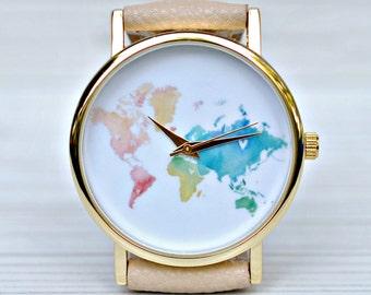 Graduation gift. World Map watch. Wanderlust. Gift for women. Watch for woman. Travel gift. Woman gift. Globe watches. Travel her jewelry