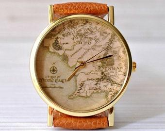 Map watch. Old map. Unique Watch. Gift for women. Men watch. Globe watch. Travel gift. Adventure. Explore. Wanderlust