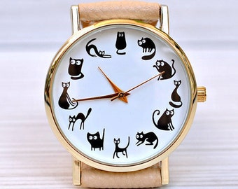 Cat lover gift. Cat watch. Cat jewelry. Gift for women. Unique watch for woman. Black cat. Cat gift. Pet lover gift. Cat mom. Crazy cat lady