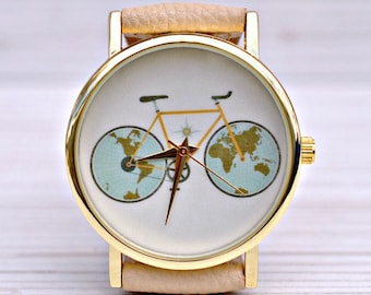 Graduation gift Bicycle watch Gifts for travelers World Map watch Gift for women Travel watch Gift for her Wanderlust jewelry