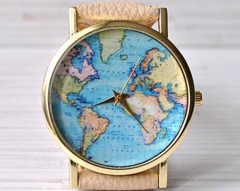 Gift for her. Map Watch. Travel gift. Gift for women. World Map watch. Unique Women watches. Graduation Gift. Wanderlust. Globe watch