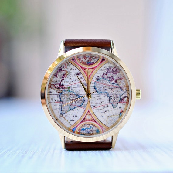Gift For Women World Map Watch Gift For Her Womens Watch Etsy