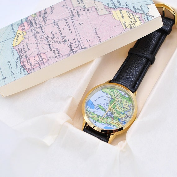 World Travel Accessories, Travel watch, World Map watch, Women gift, Map  gift, Leather watch, Woman watch, Boyfriend gift, Globe watch