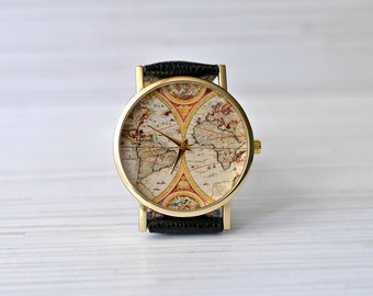 vintage map graduation gift gift for women world map watch gift for