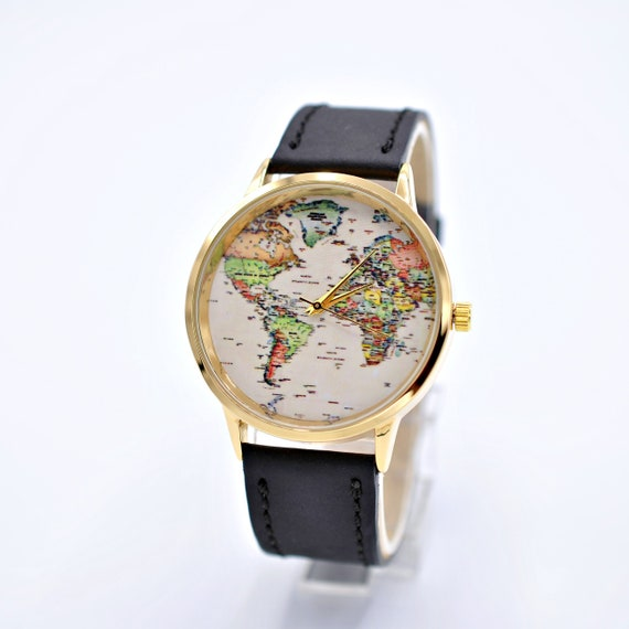 Travel map watch. Gift for women. Leather watch. Wanderlust | Etsy