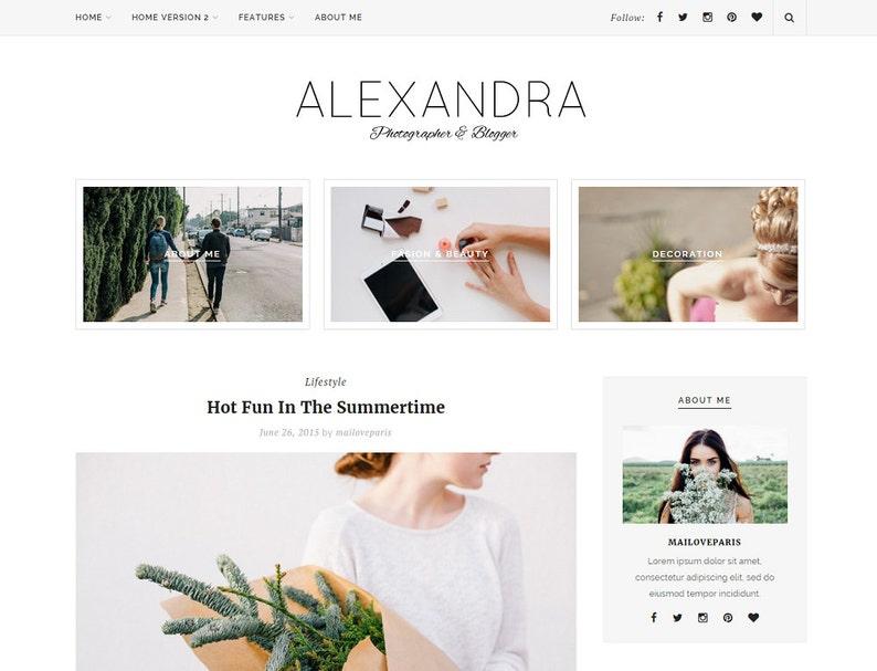 Alexandra Wordpress Theme Feminine Wordpress Theme Etsy