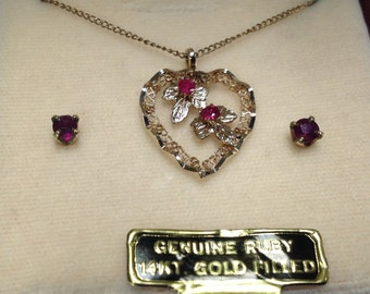Vintage Ruby Necklace and Earrings Set