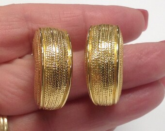 Vintage Gold tone Textured Chunky Hoop Clip on Statement Earrings