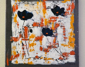 modern abstract painting, poppies painting, colorful, contemporary painting flowers, gold, bronze, blue, gray, size 30 x 30