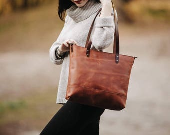 Women s leather tote bag Small tote bag Leather purse Women s tote Carryall  Shopper Women s gift Birthday gift leather Tote by Kruk Garage ff1c44048
