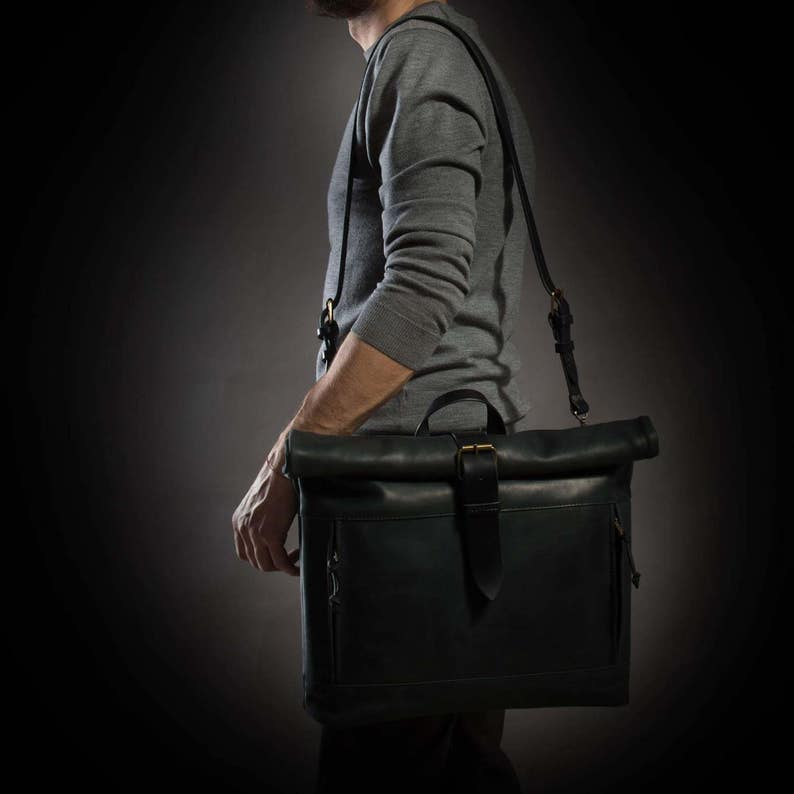 Black leather bag Roll top bag by Kruk Garage Laptop leather bag Mens shoulder bag Roll top bag Leather messenger Birthday gift Gift for him