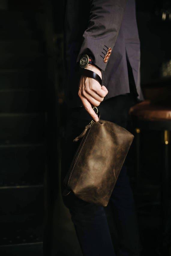 01d221a416 Leather Pouch by Kruk Garage Necessairies bag Leather Dopp kit Toiletry bag  Mens bag Travel kit Groomsmen bag Toiletry kit Travel bag
