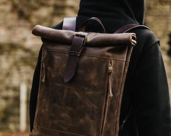 Men's backpack Roll top backpack by Kruk Garage Leather backpack Leather rucksack Men's gift Personalized gift