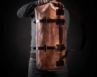 Duffel Pack by Kruk Garage Weekender Travel bag Leather men's bag Large bag Leather duffle bag Luggage Cognac leather bag Men's gift