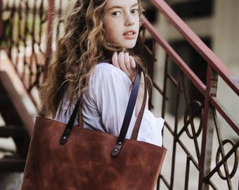 Tote bag Leather tote bag Women's leather tote bag Carryall Shopper Women's gift Birthday gift leather Tote by Kruk Garage