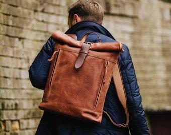 Roll up backpack Roll top backpack Student backpack Mens backpack Laptop backpack Unisex leather backpack School backpack
