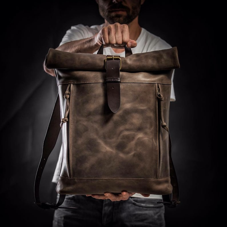 8c15b6108f3a Roll top backpack by Kruk Garage Leather Backpack Brown leather backpack  Men s backpack Leather rucksack Men s gift Personalized gift