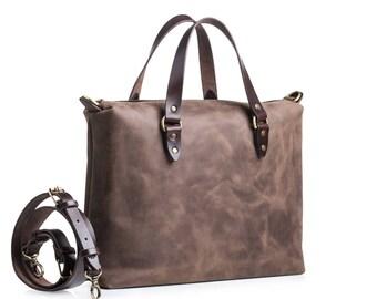 Leather messenger bag by Kruk Garage Leather briefcase Laptop bag Mens work bag Leather satchel Minimalist Bag Handcrafted leather bag