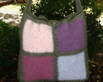 Multi Coloured Square Felted Bag