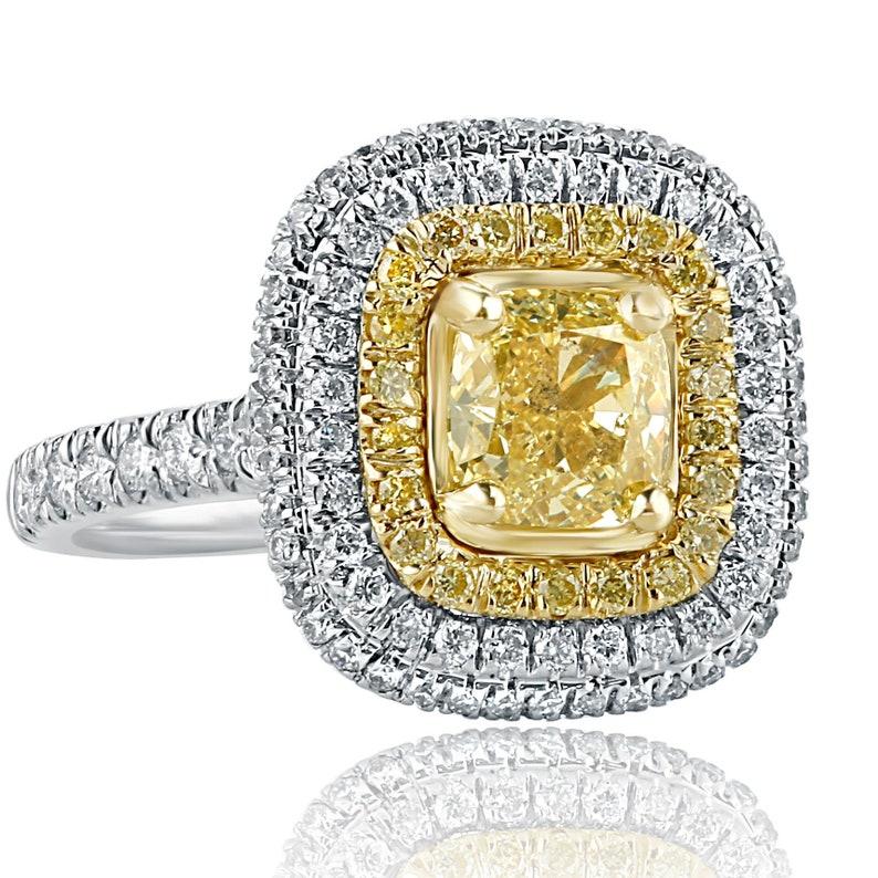 1 93 Ct Cushion Cut Diamond Engagement Ring Yellow Diamond Engagement Ring Diamond Halo Engagement Ring Cushion Cut Ring 18k White Gold