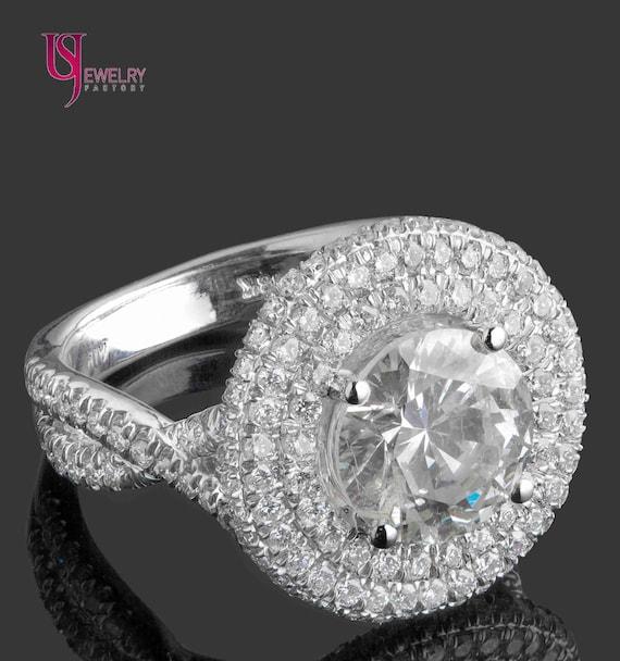 0.60 CT Vert Ronde Diamant Solitaire Clous Boucle d/'oreille Veste Halo 14K or Blanc