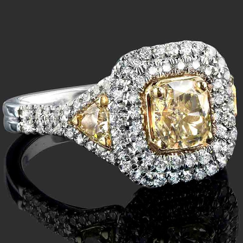 ec9da9cea5518 Cushion Cut Diamond Engagement Ring with Trillion Side Diamonds, 2.16 TCW,  Fancy Yellow Diamond Ring, Halo Engagement Ring, Diamond Ring,18k