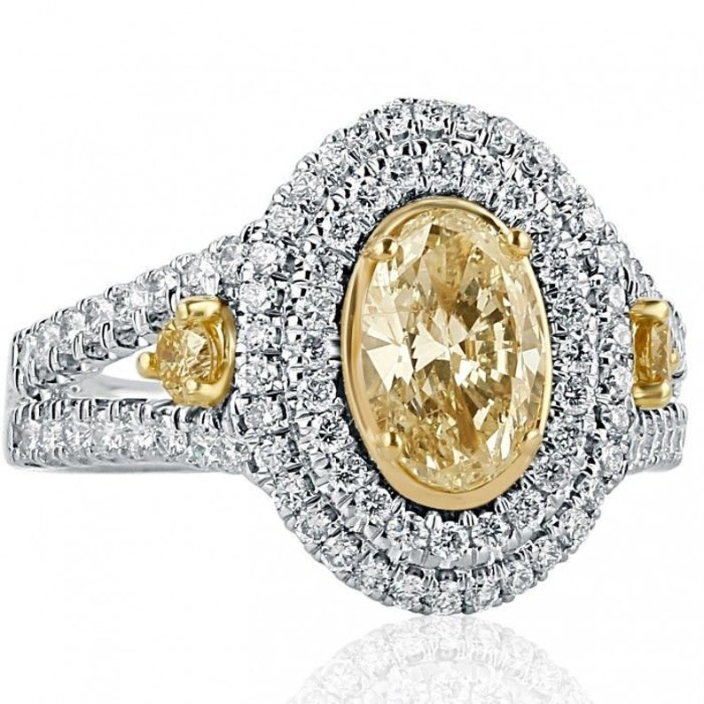 777513f664af5 2.24 TCW, Oval Diamond Engagement Ring, Yellow Diamond, Double Halo, Round  Side Diamonds, Hand Made, 18k White Gold, Split Shank Ring